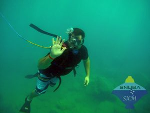SNUBA diver waving at the camera